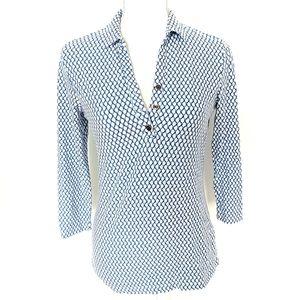 J. McLaughlin Blue Link Court Shirt SZ XS